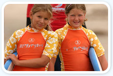 Two surfer girls smiling