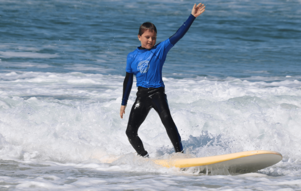 Boy surfing