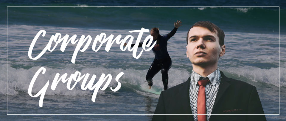 Surfing girl and executive man
