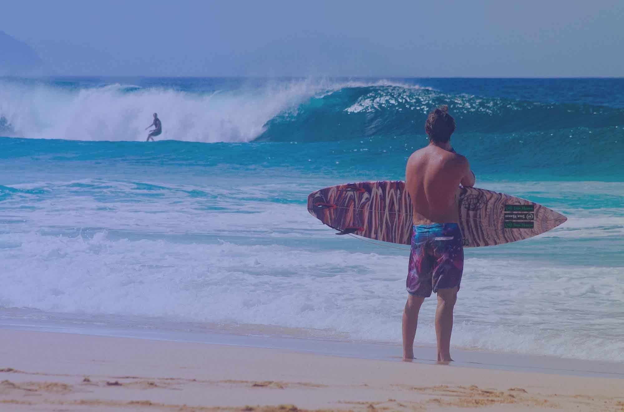 Surfer watching the beach in San Diego