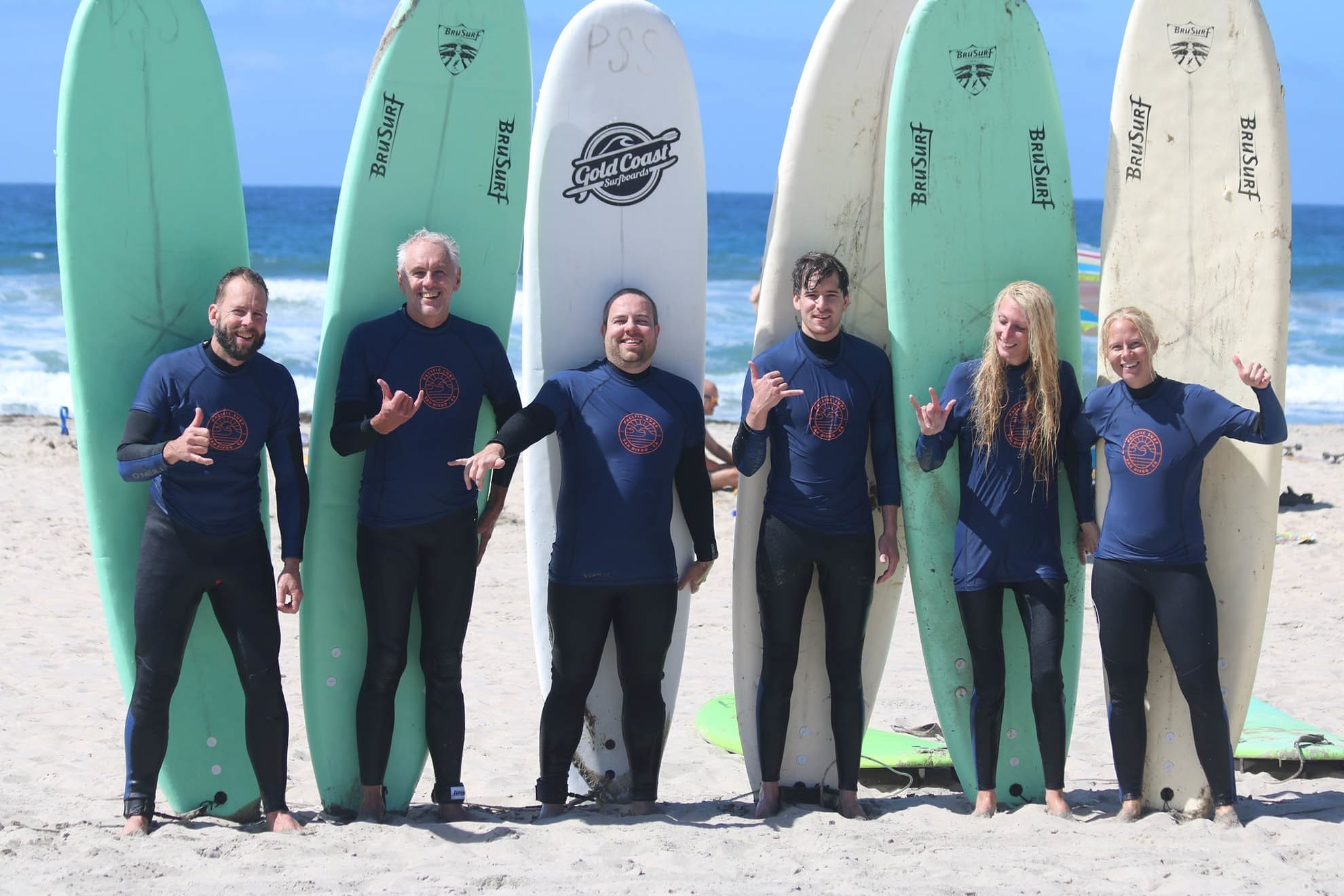 Group of surfers in San Diego